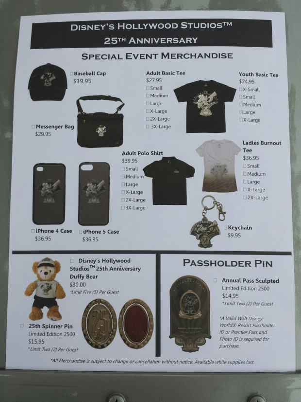 A flyer with some of the 25th Anniversary merchandise