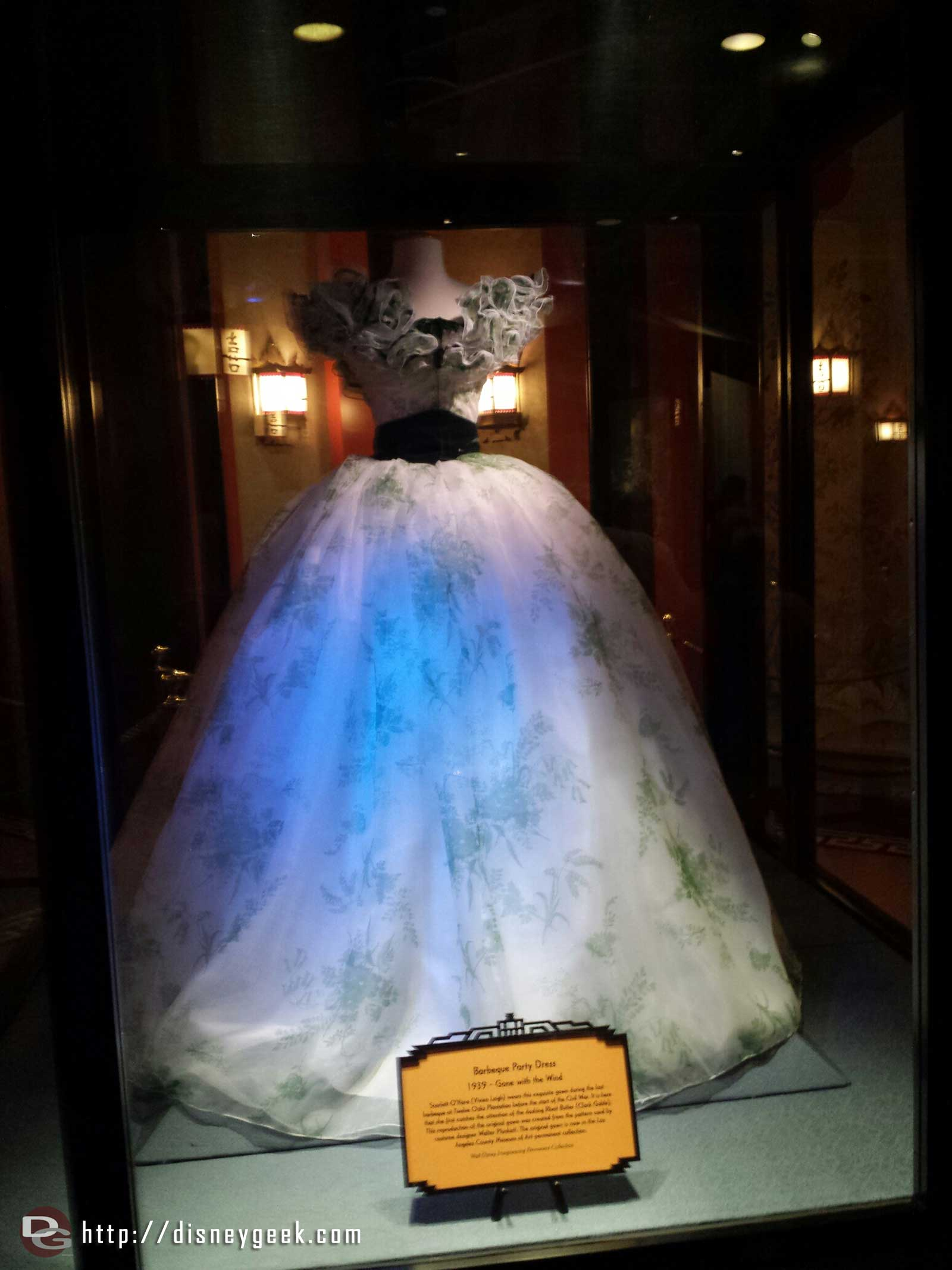 A dress from Gone with the Wind in the Great Movie Ride queue