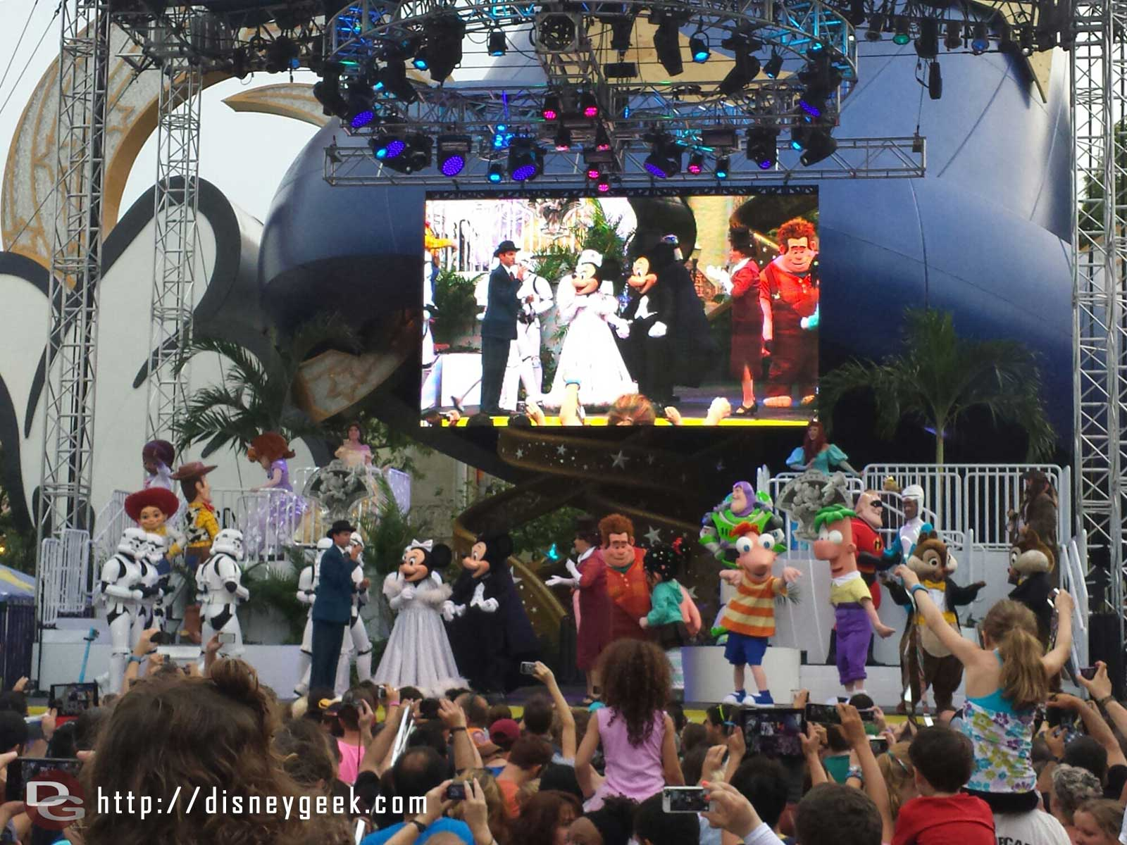 The stars of the studios on stage for a group picture – Disney's Hollywood Studios
