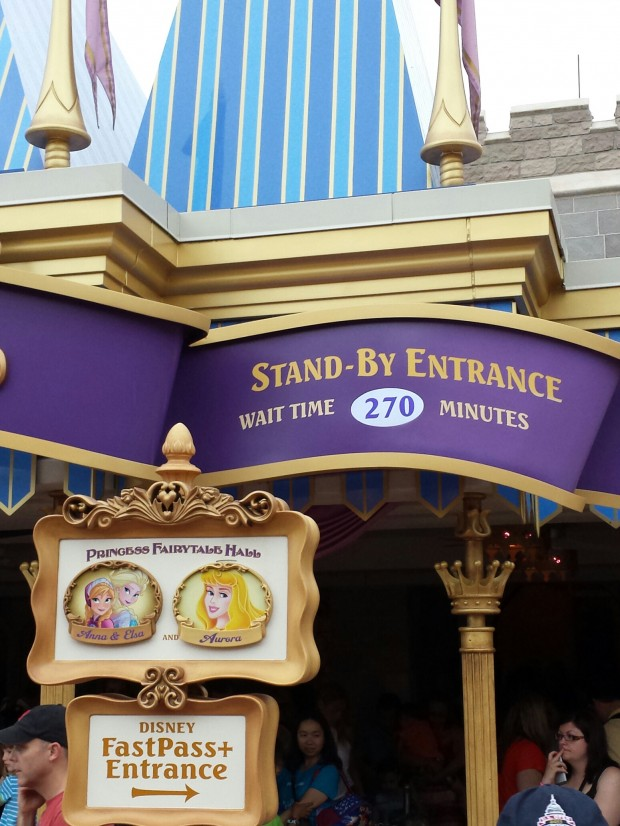 Even with the rain still a posted 270 min wait for the Frozen sisters.