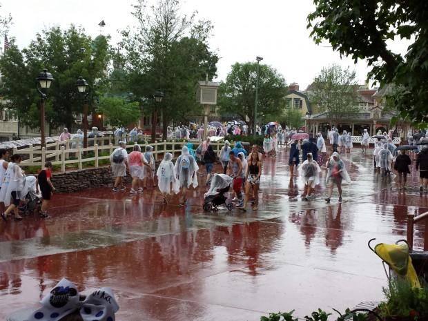 It was still raining outside.  Liberty Square