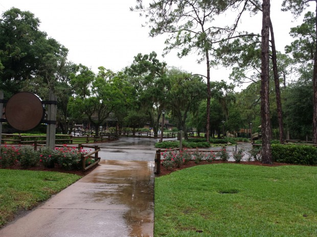 Arrived at a peaceful Fort Wilderness, it was still raining.