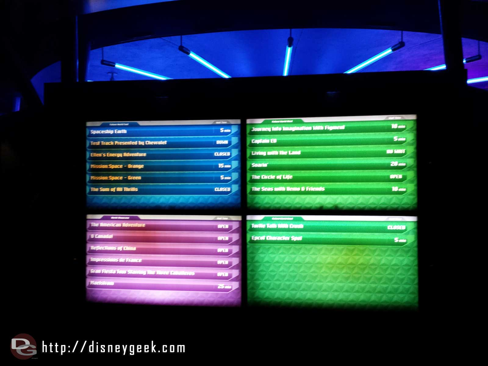 Epcot wait times as of 8:45pm
