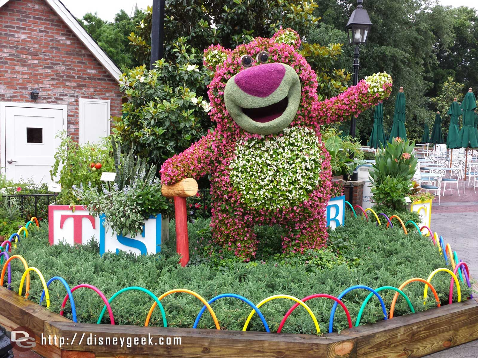 Lotso topiary near the American Adventure –  Epcot International Flower & Garden Festival