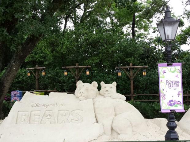 Disney Nature Bears sand sculpture -  Epcot International Flower & Garden Festival