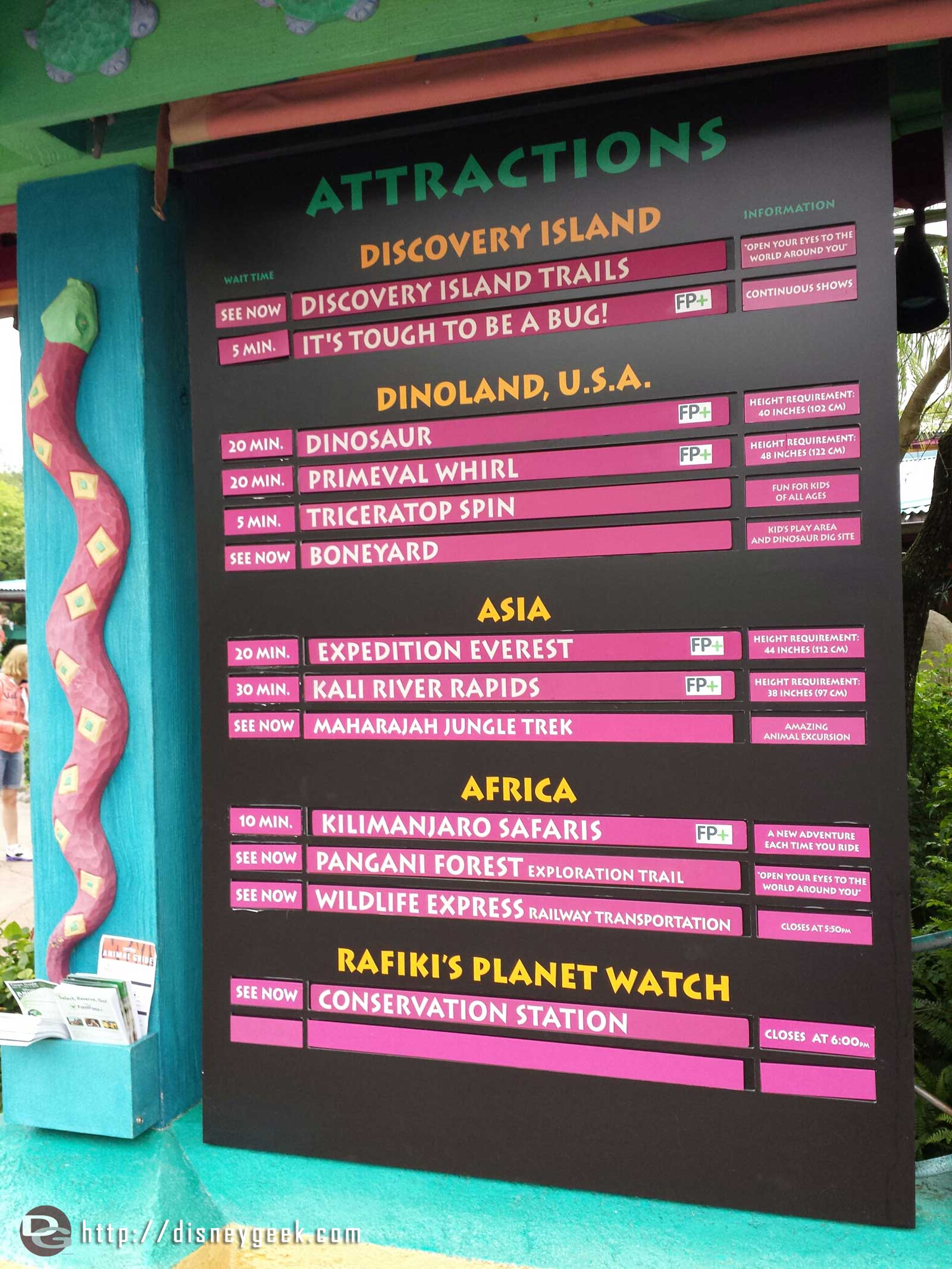 Current wait times at Disney's Animal Kingdom