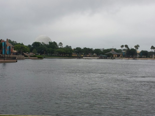 The skies looked threatening again...  World Showcase Lagoon