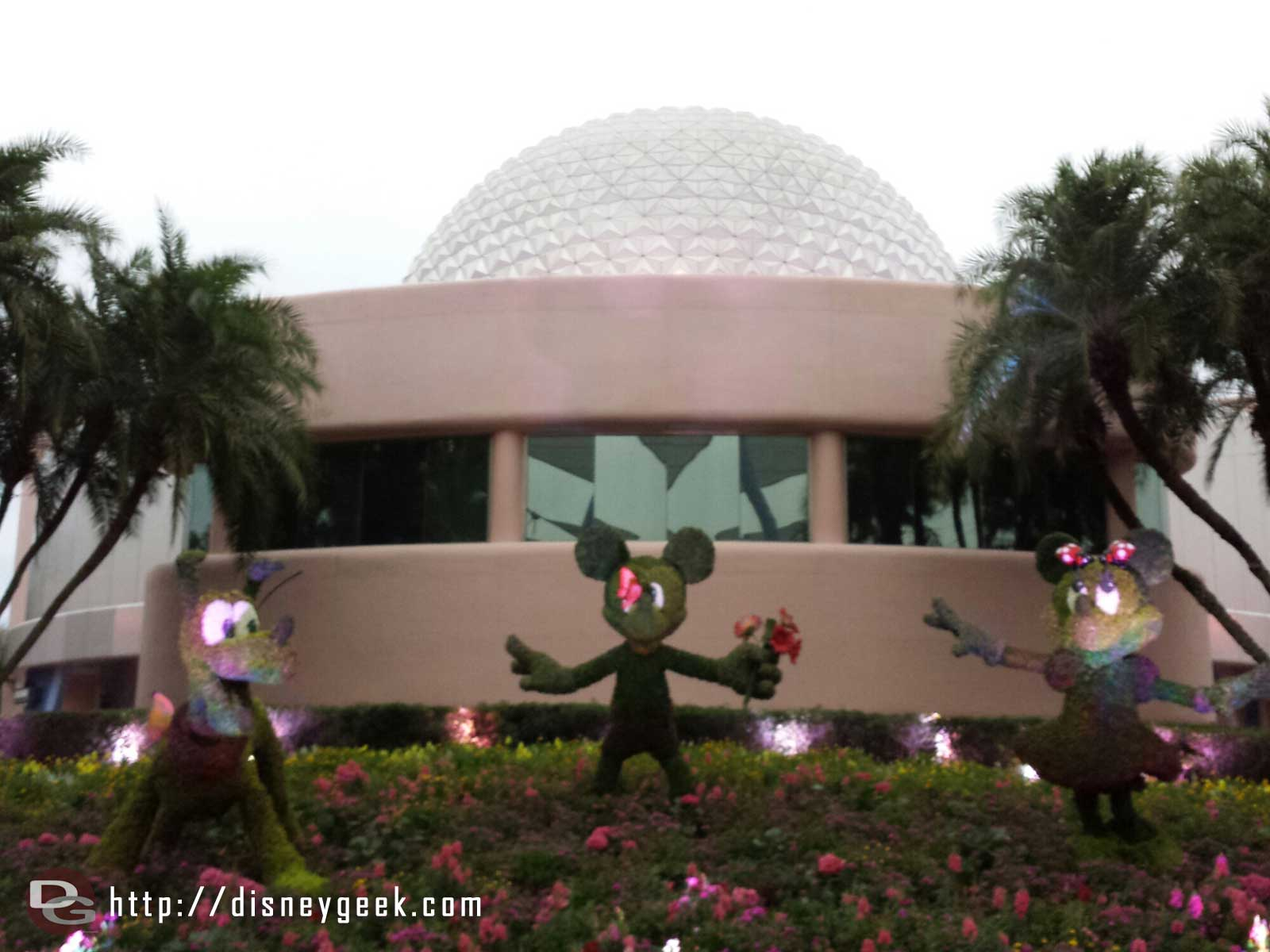 Mickey, Minnie & Pluto topiaries in Future World #Epcot