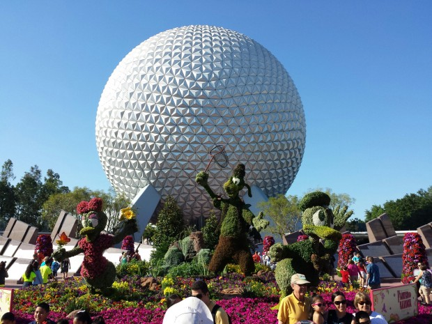 Entrance topiary featuring Donald, Daisy and Goofy - Epcot International Flower & Garden Festival