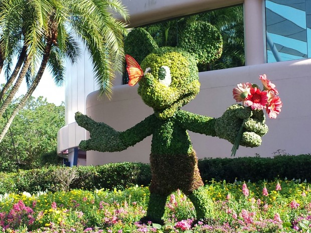 Mickey topiary on the park side of Spaceship Earth - Epcot International Flower & Garden Festival