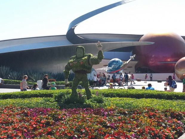 Buzz Lightyear in front of Mission Space - Epcot International Flower & Garden Festival