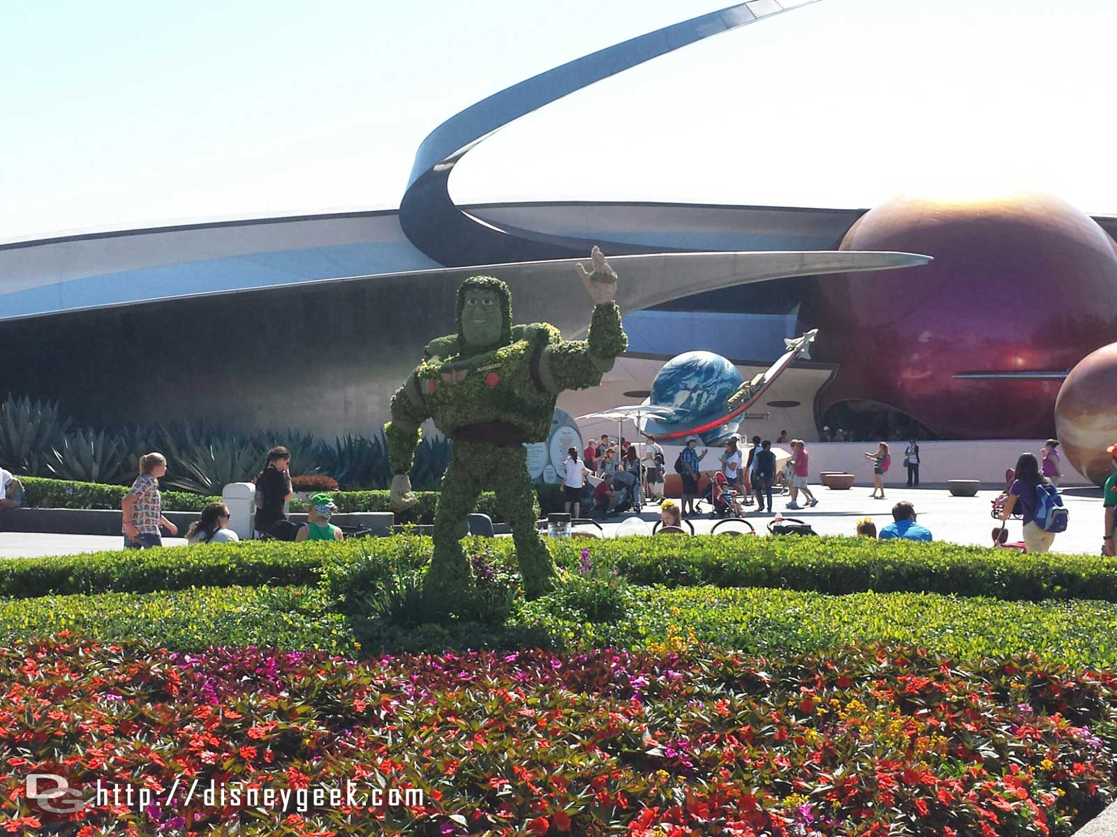 Buzz Lightyear topiary in front of Mission Space –  Epcot International Flower & Garden Festival