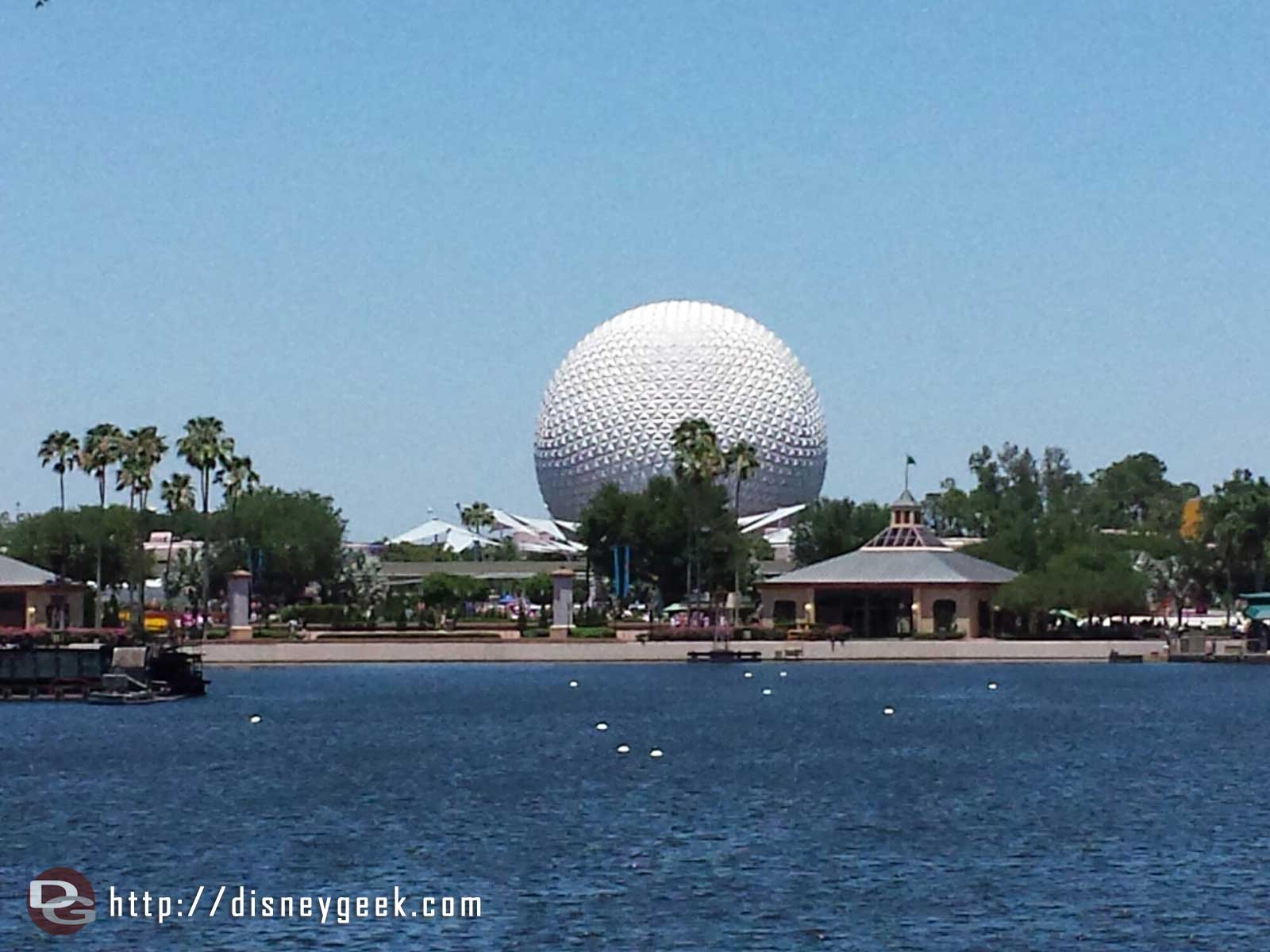 Spaceship Earth across World Showcase Lagoon #Epcot