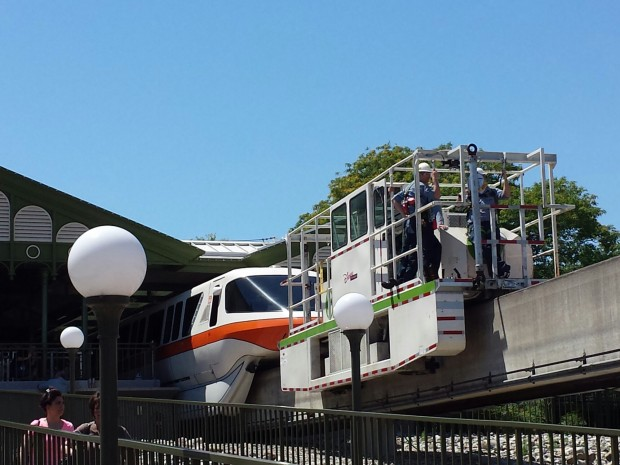 The reason for the closure... Monorail Orange.  A tractor was in front and they were assessing the situation