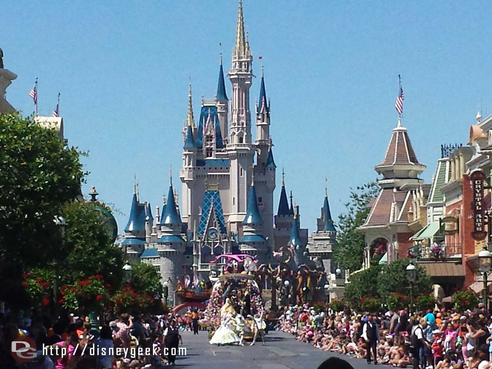 The Festival of Fantasy parade arriving on Main Street #WDW