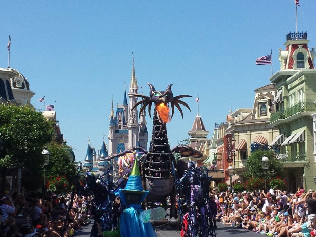 Maleficent breathing fire in the Festival of Fantasy Parade