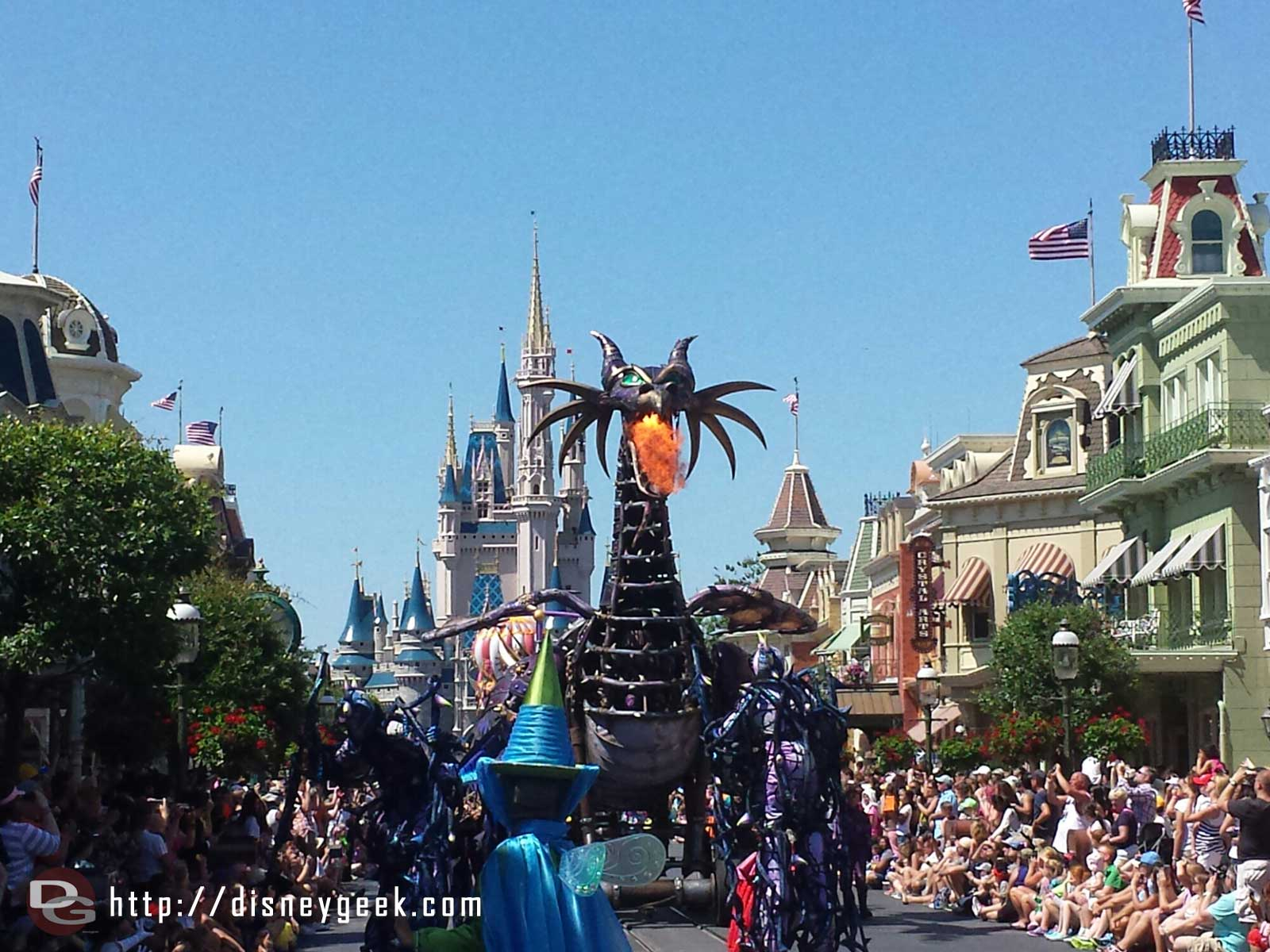 Maleficent breathing fire in Festival of Fantasy Parade at the Magic Kingdom #WDW
