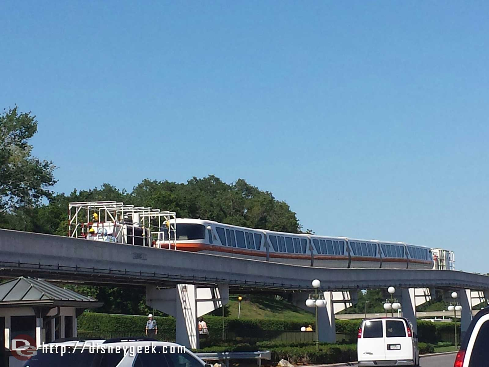 Monorail Orange being towed/pushed along the express beam #WDW