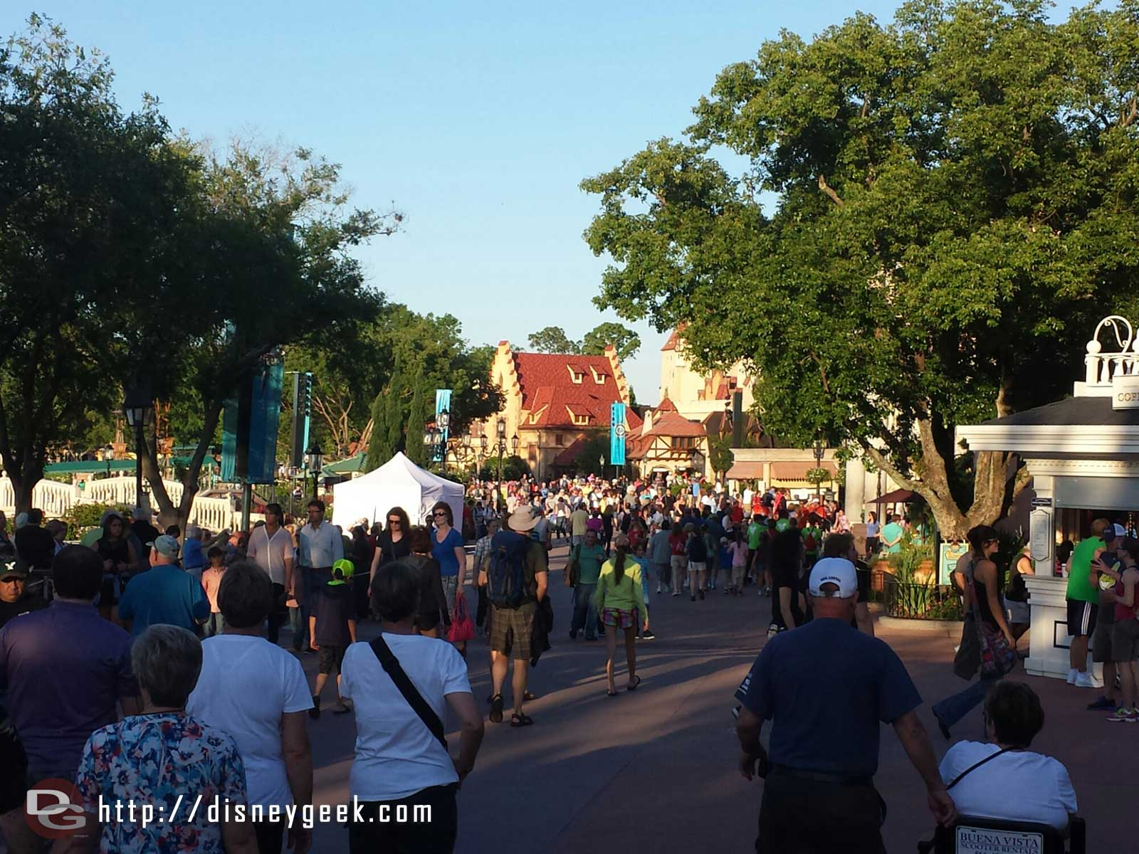 Walking around World Showcase, much more crowded today thanks to the great weather.