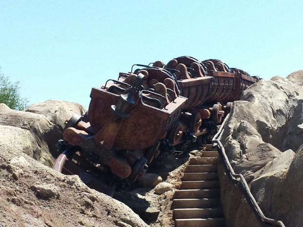 The Seven Dwarfs Mine Train opens May 28th.  Today they were cycling some empty trains