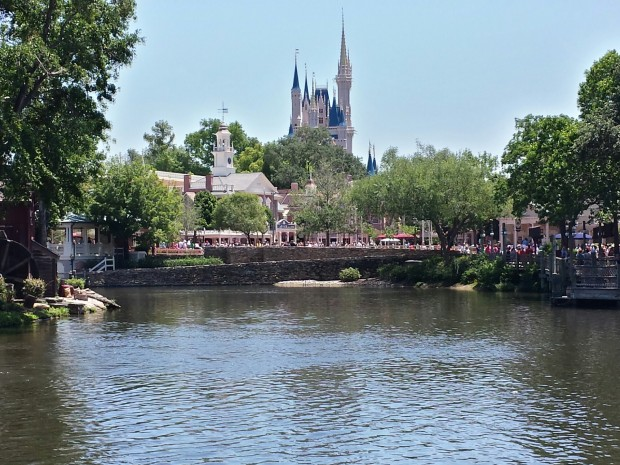 Cinderella Castle beyond the Rivers of America
