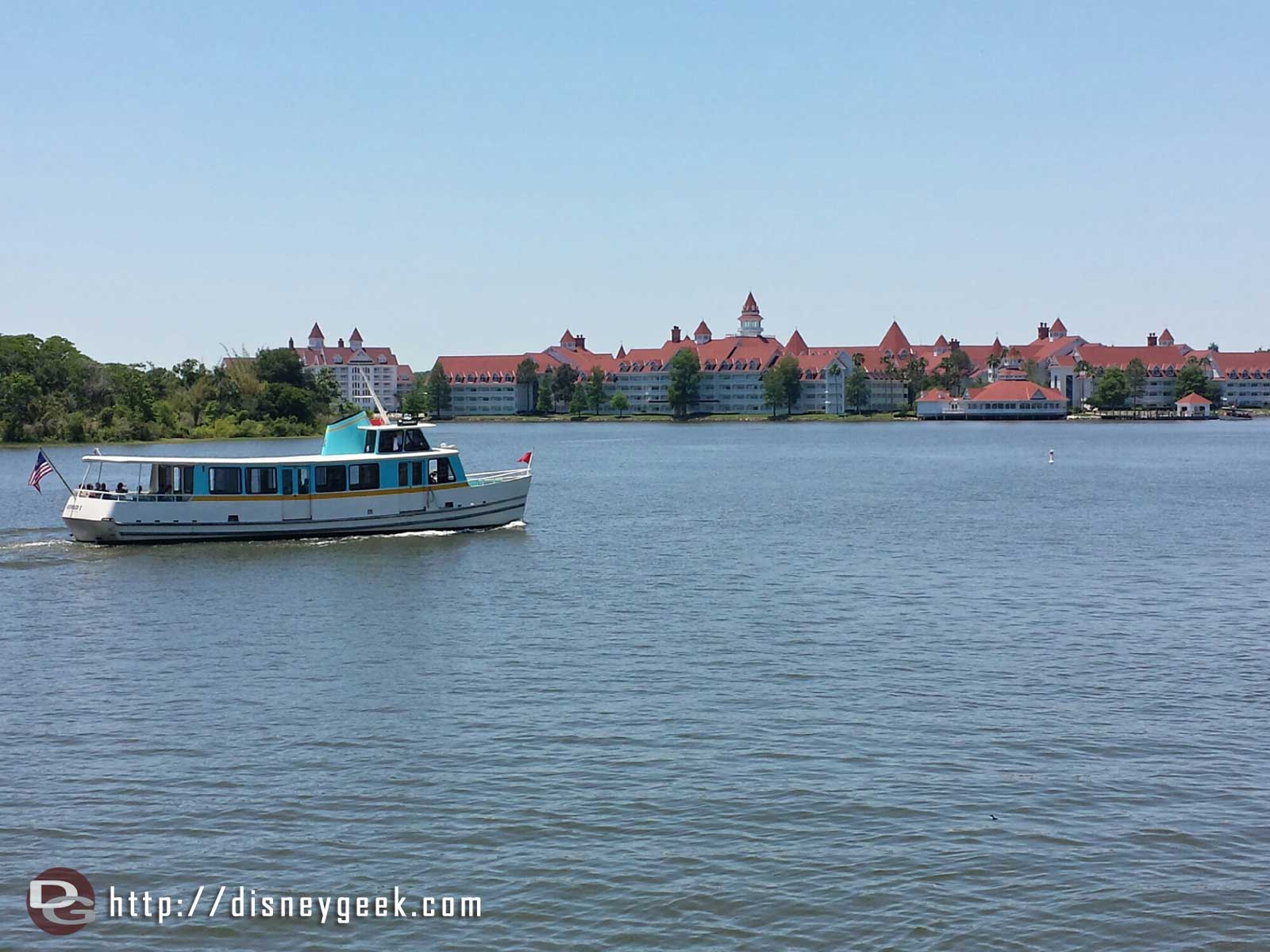 Cruising across the Seven Seas Lagoon – Grand Floridian and the Mermaid I in the foreground #WDW