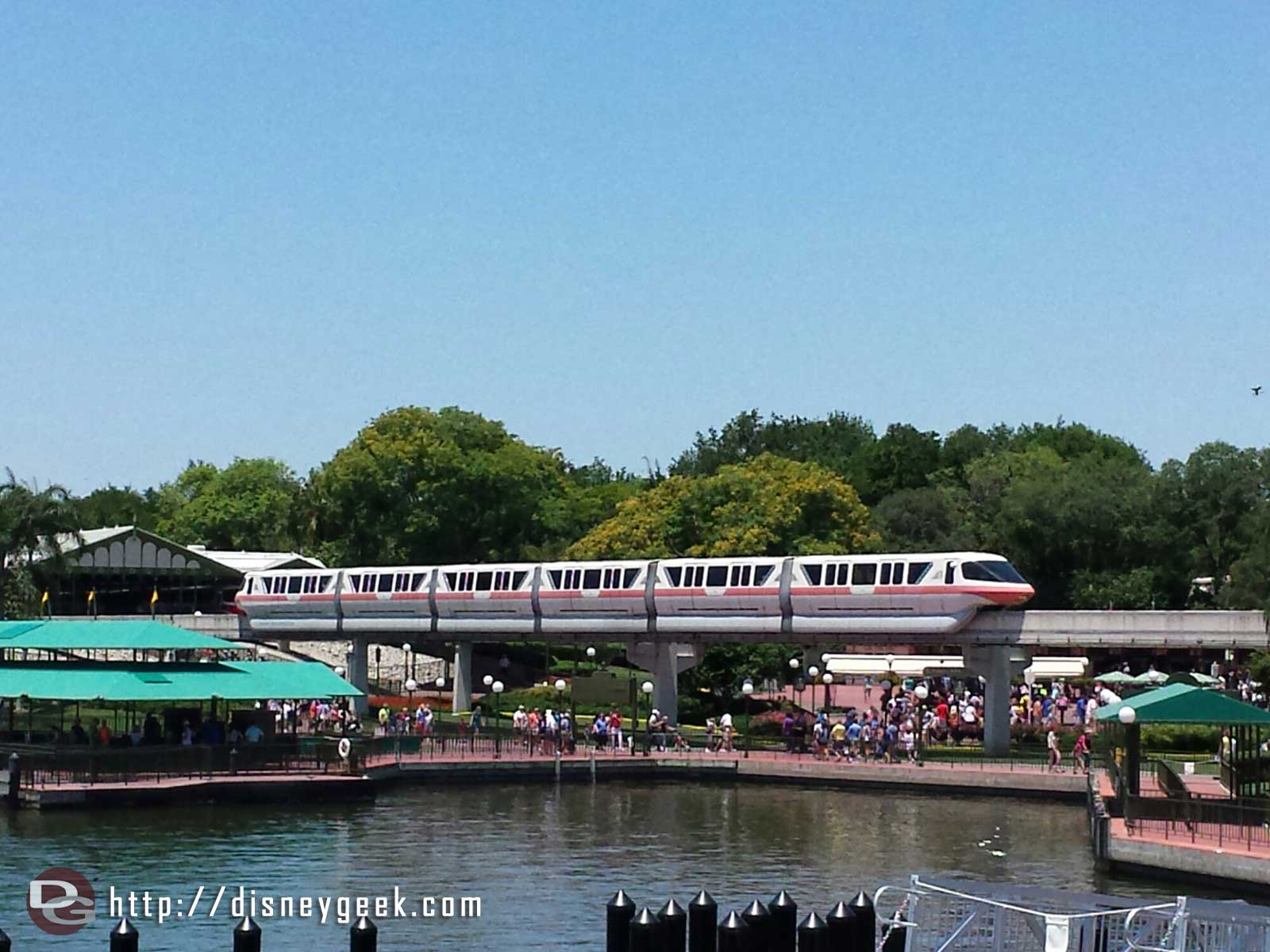 Monorail Pink pulling out of the Magic Kingdom station #WDW