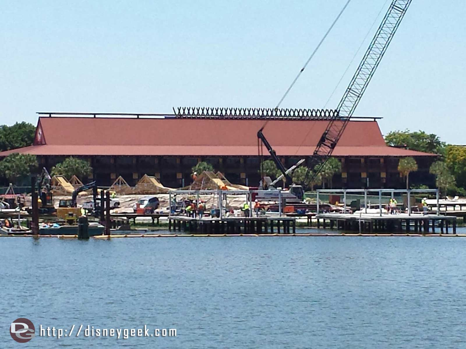A look at the Polynesian DVC construction from the Magic Kingdom Ferry Boat
