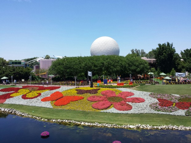 A look down at some of the large flower beds at the Epcot International Flower and Garden show from the monorail