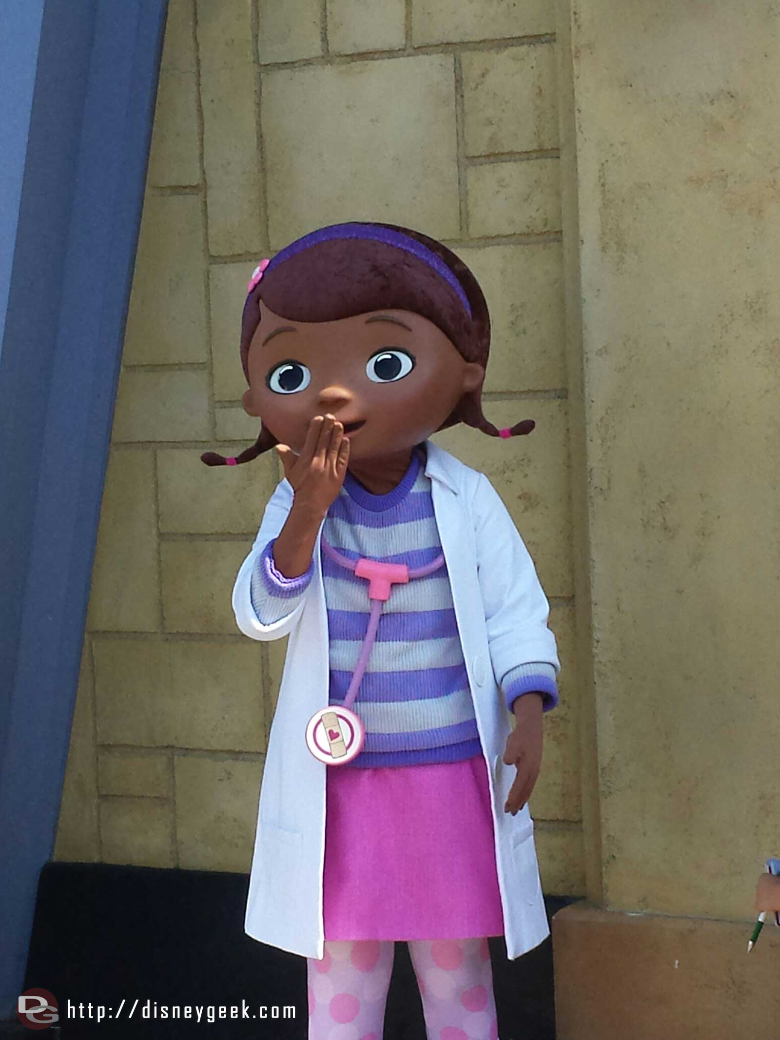 Doc McStuffins out greeting guests along Hollywood Blvd. #DCA