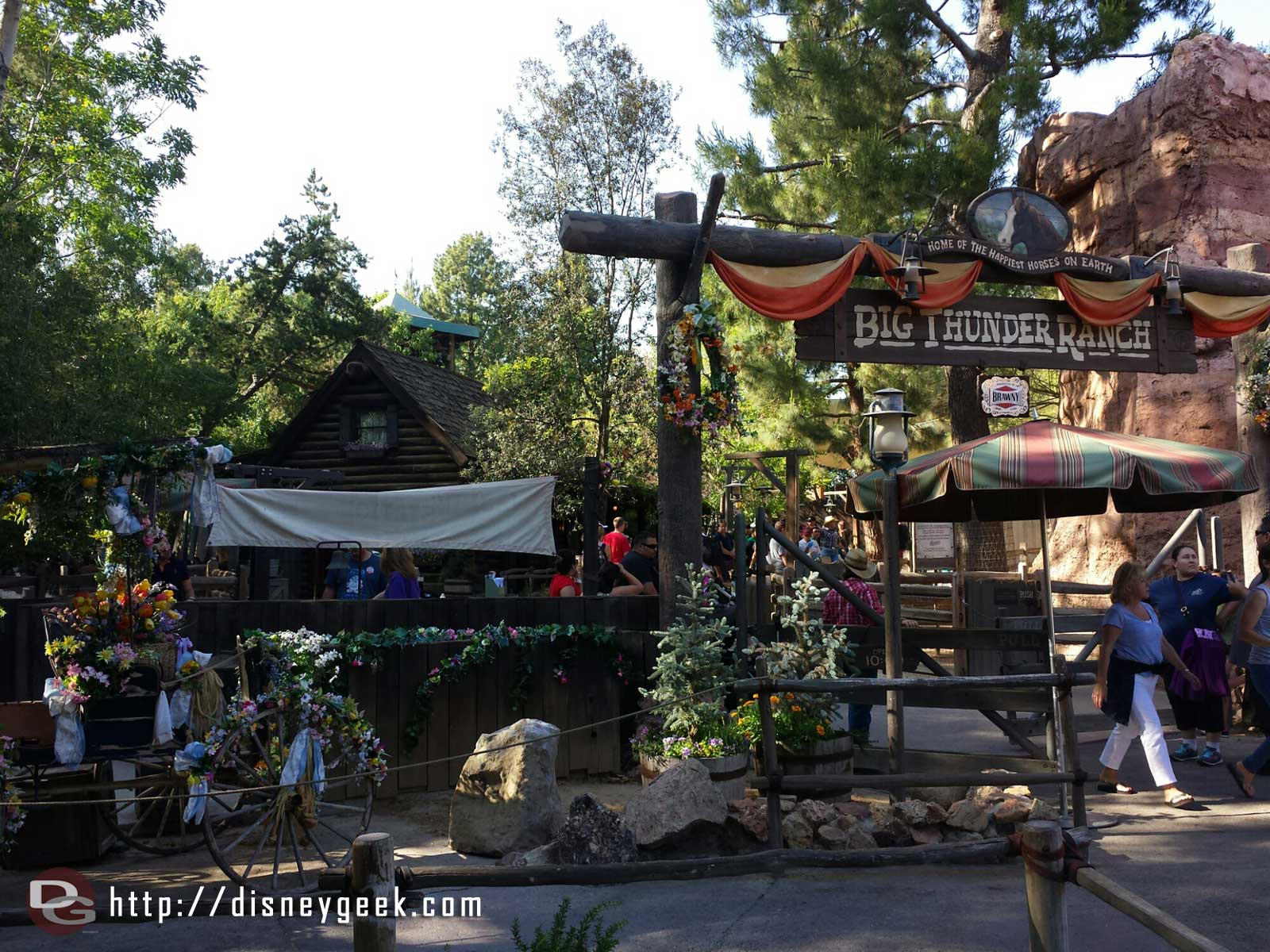 The Big Thunder Ranch area is scheduled to close at  5:00pm today but at 4:50 they were closing the gates and would not let you in.