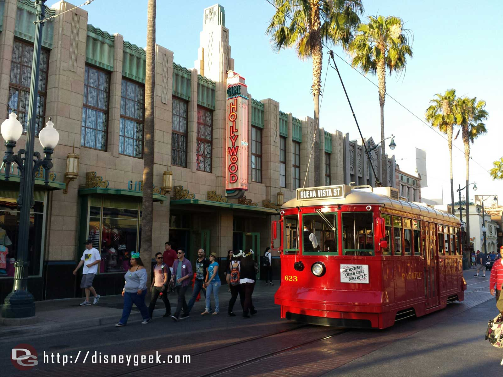 Red Car Trolley 623 passing by on Hollywood Blvd