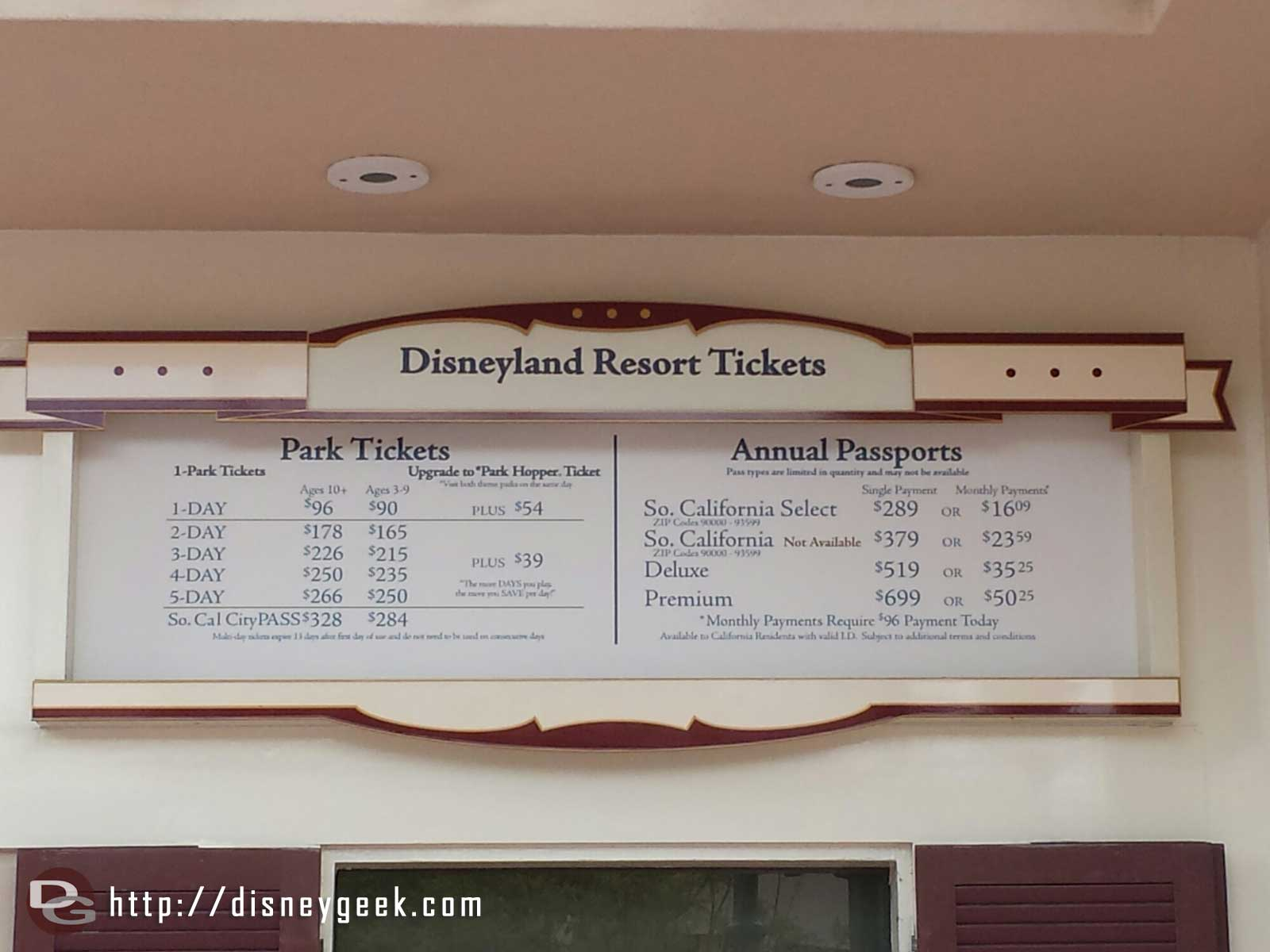 Since my last trip admission has gone up, current #Disneyland Resort tickets