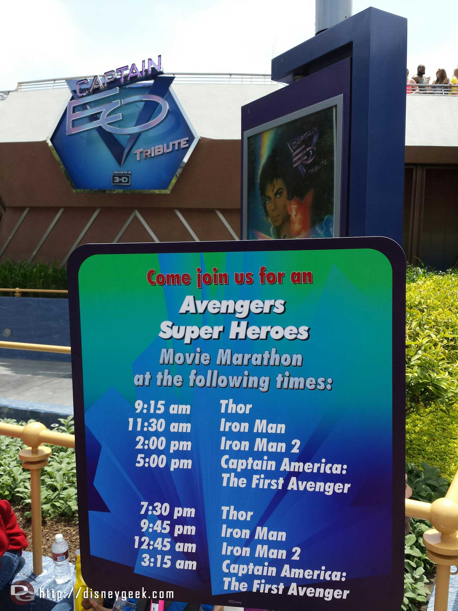 Avengers Super Heros movie marathon in place of Captain EO today #Disney24  #DisneySide