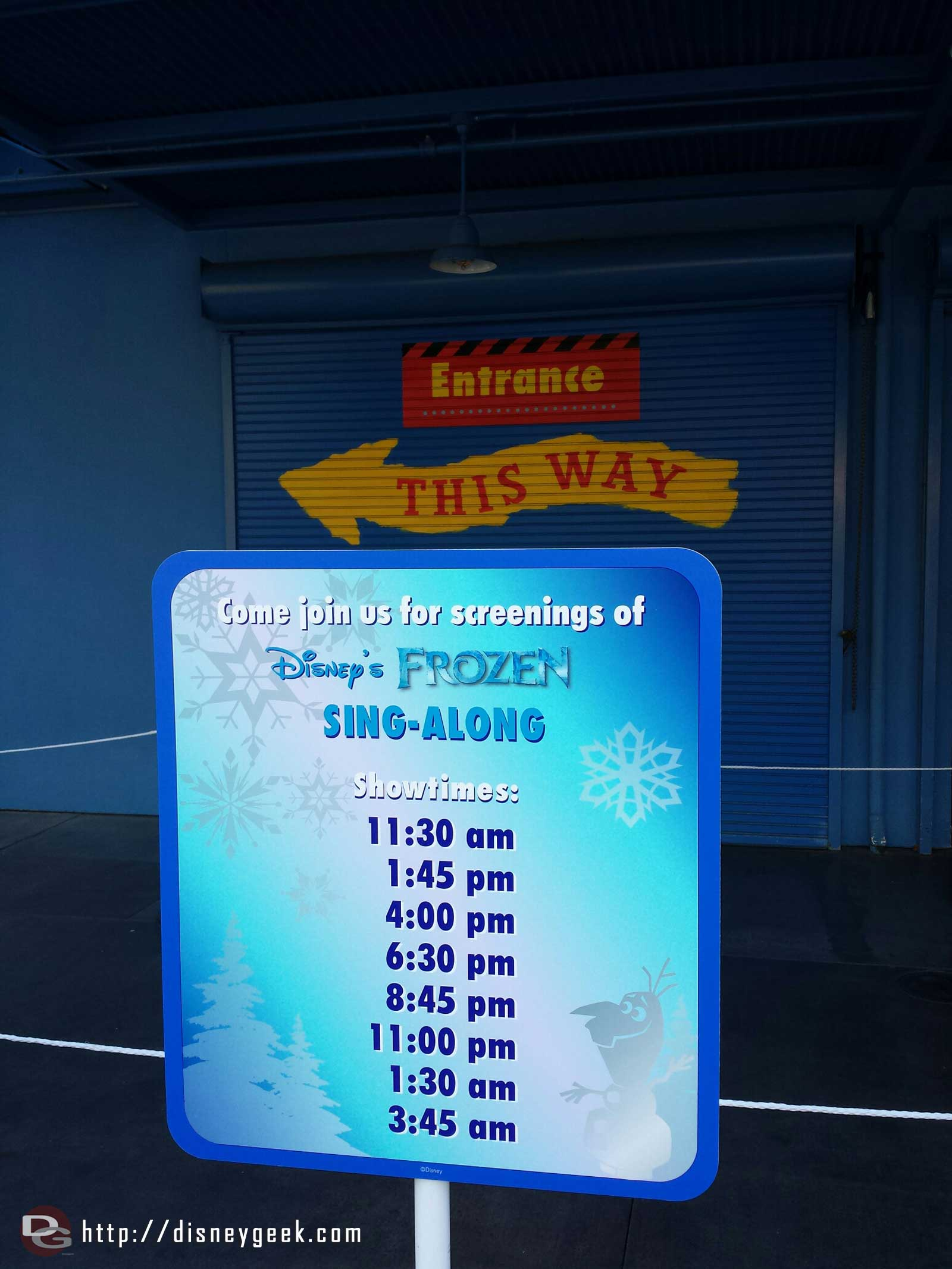 No Muppets today, instead Frozen sing-along all day & night #Disney24  #DisneySide