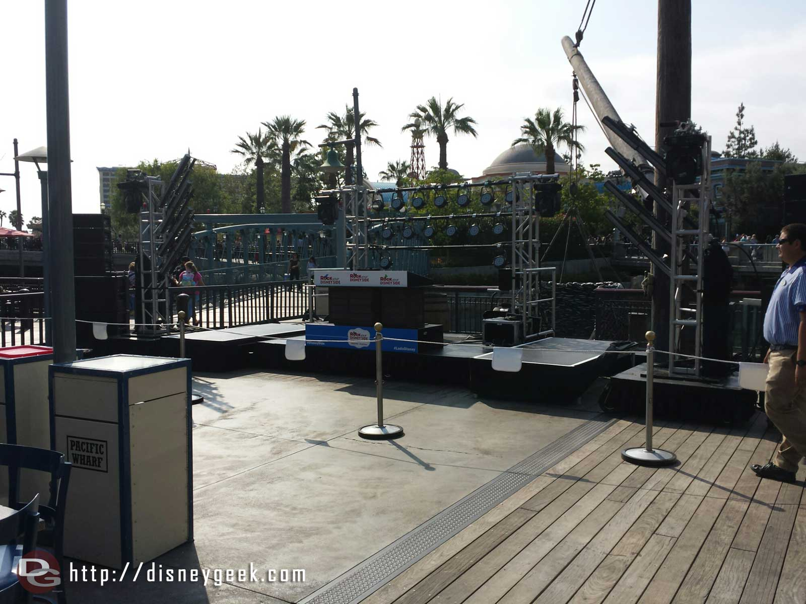 A stage set up on the Pacific Wharf for later this evening