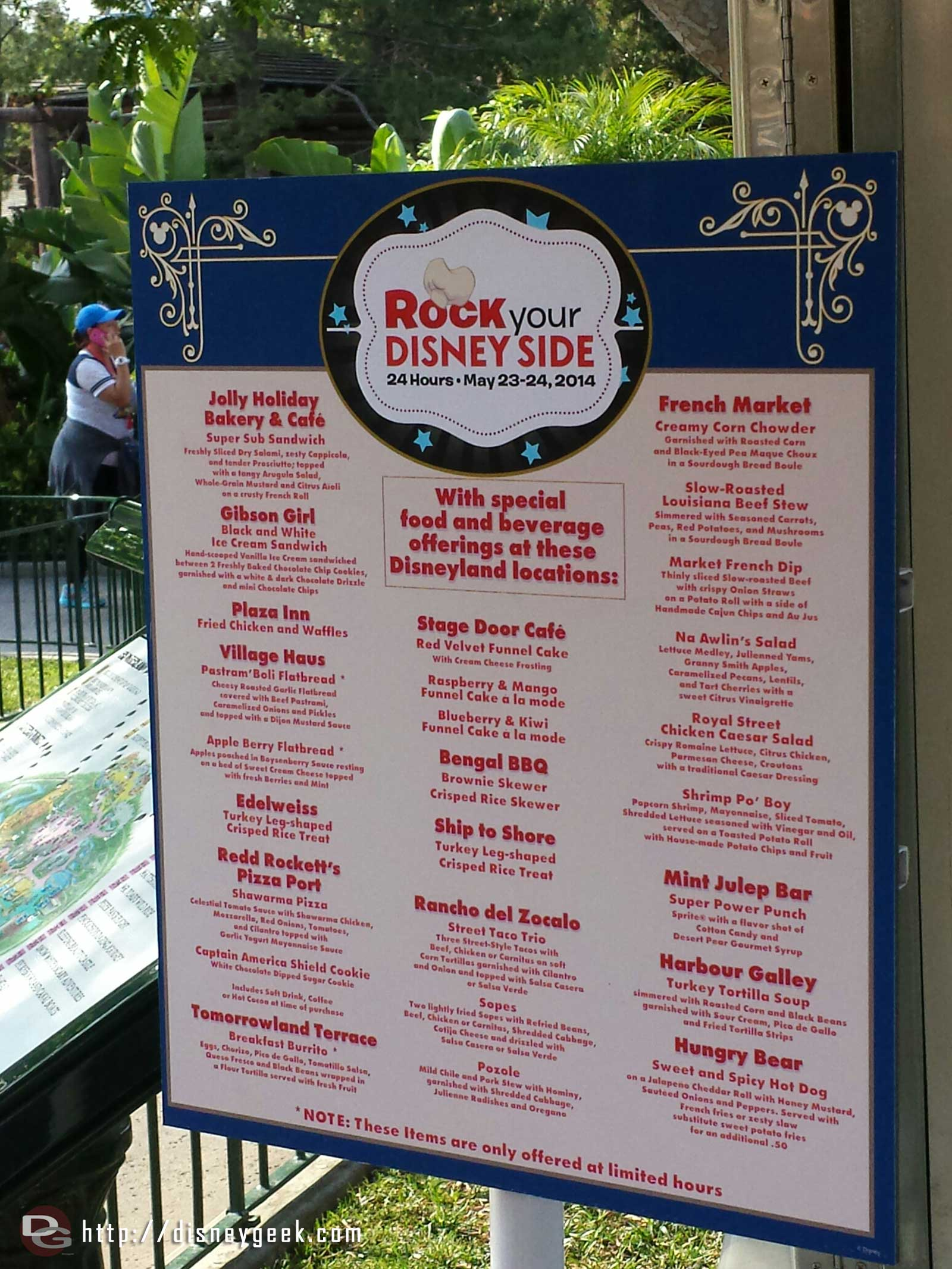 A listing of the #Disneyland food items for today #Disney24  #DisneySide