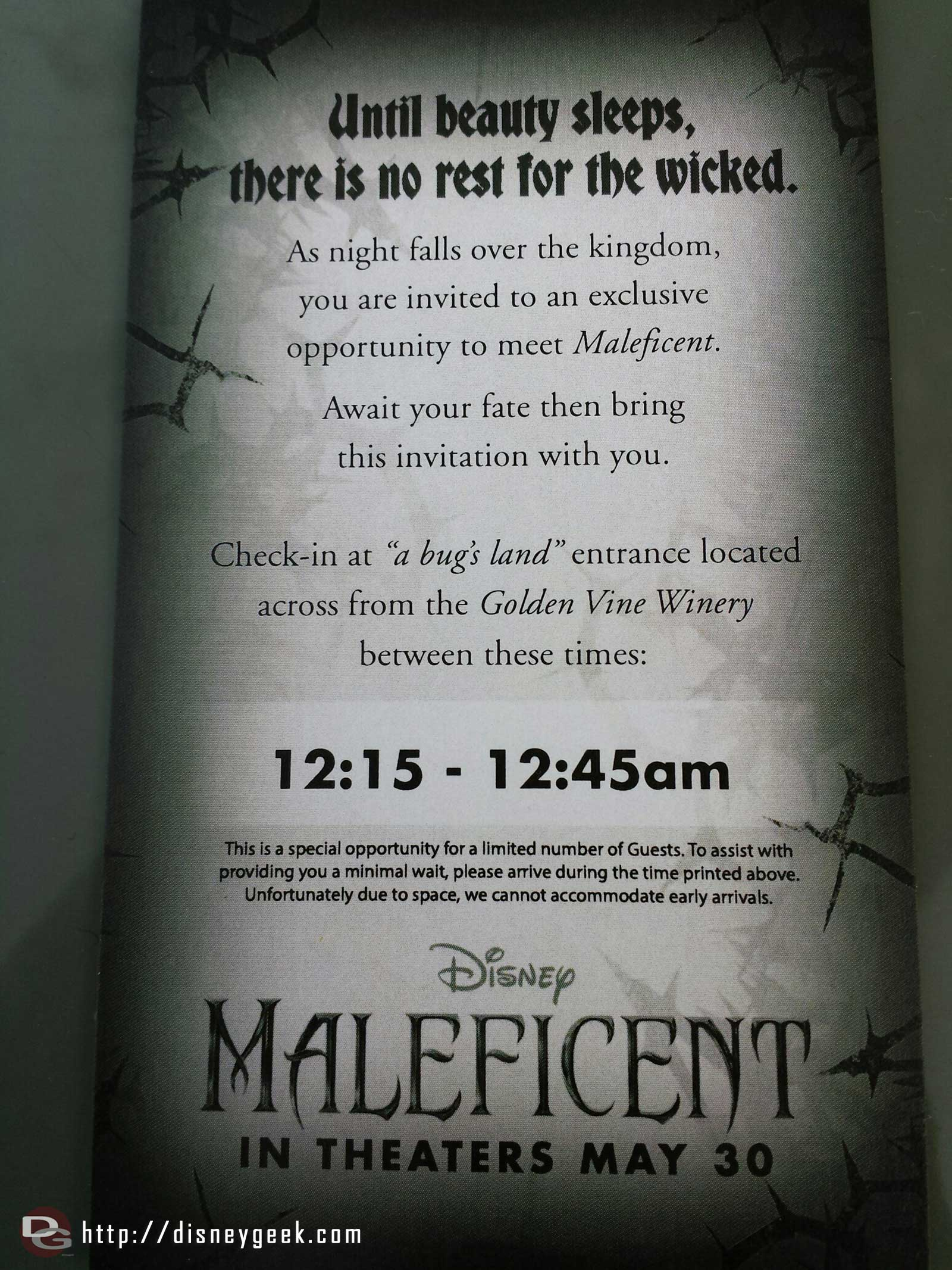 Vouchers to meet Maleficent later tonight are being given out at the Blue Sky Cellar