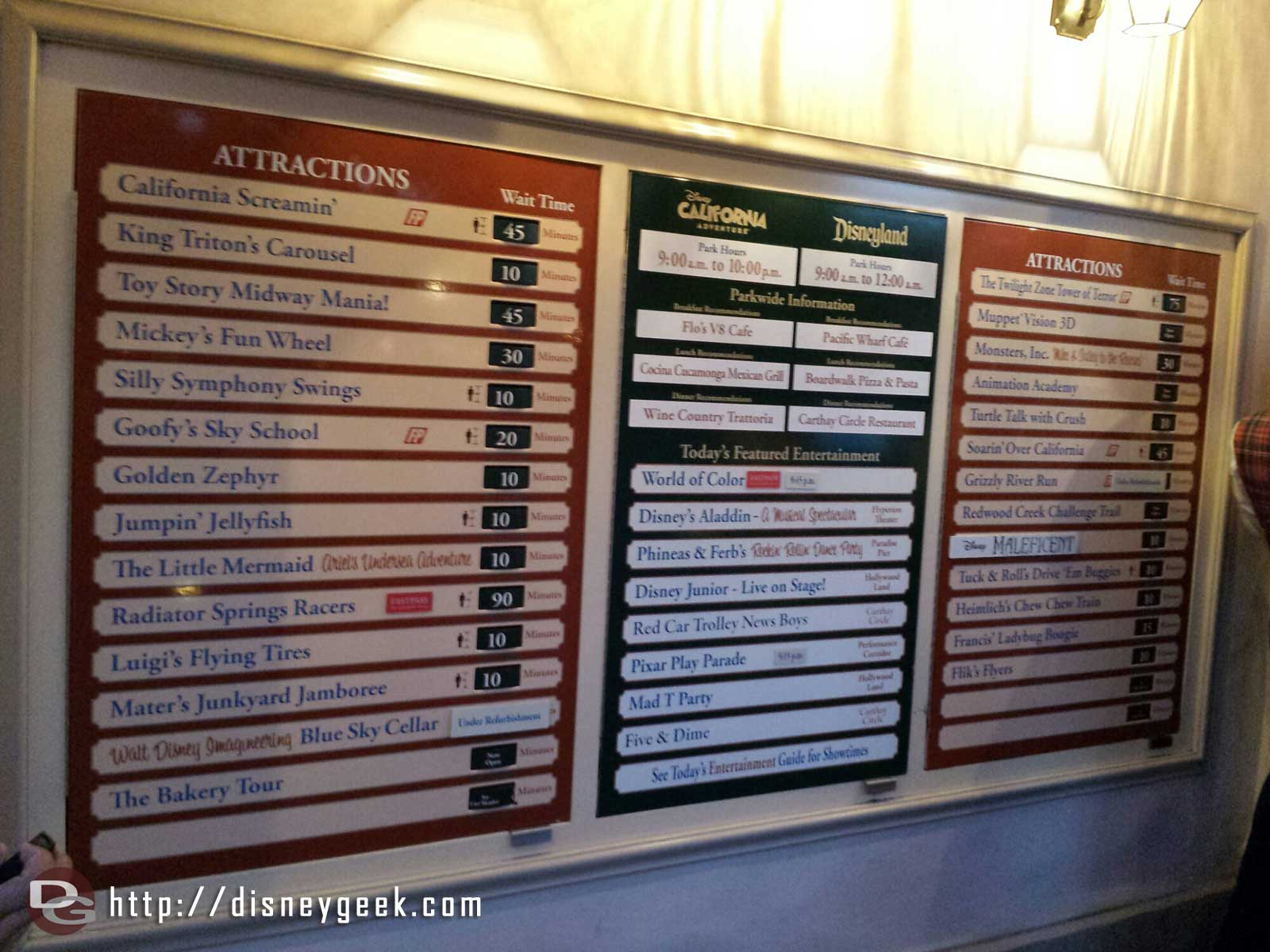 DCA Current wait times as of 8:14pm