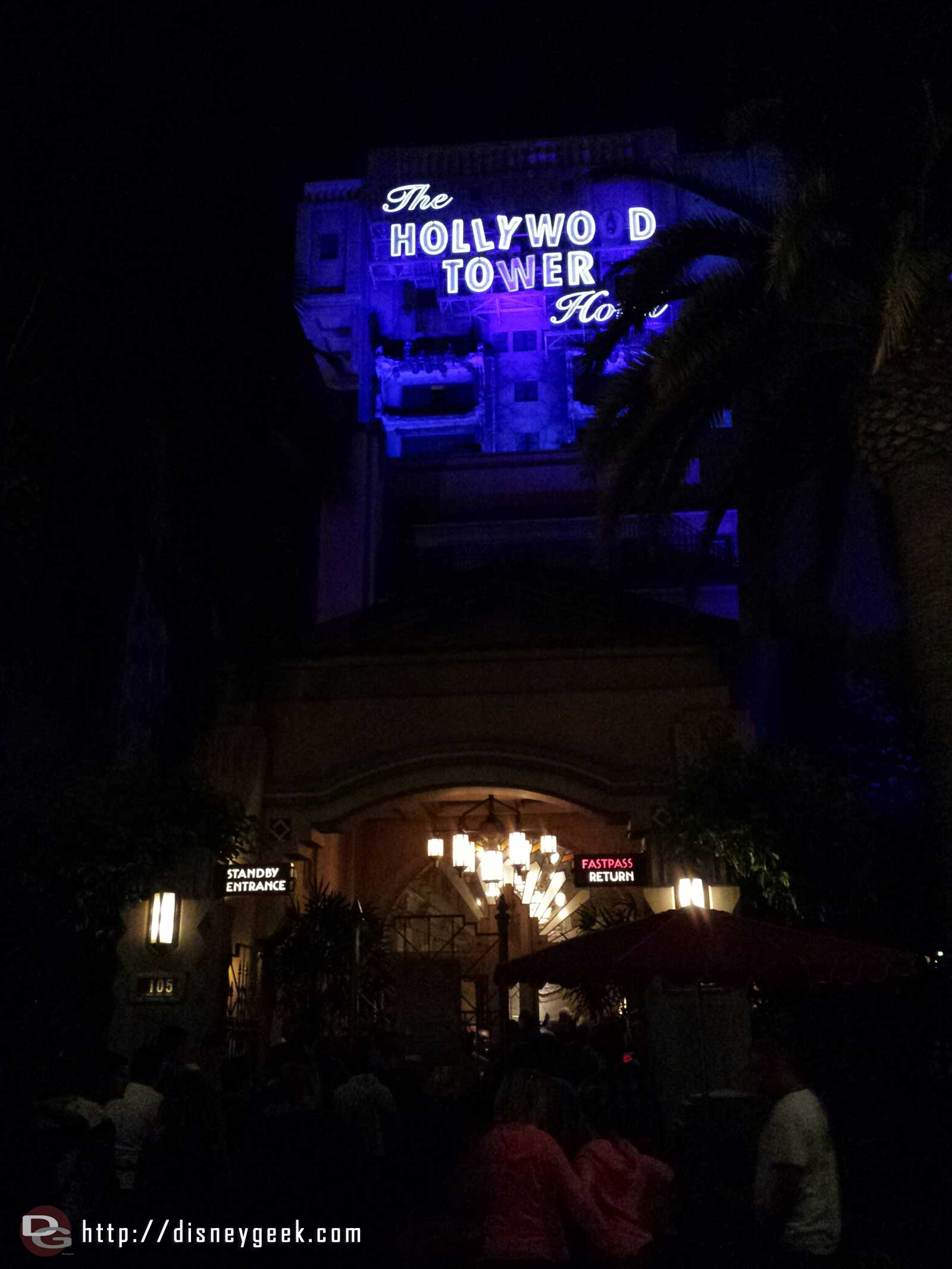 Tower of Terror has a posted wait of 105min #GradNite