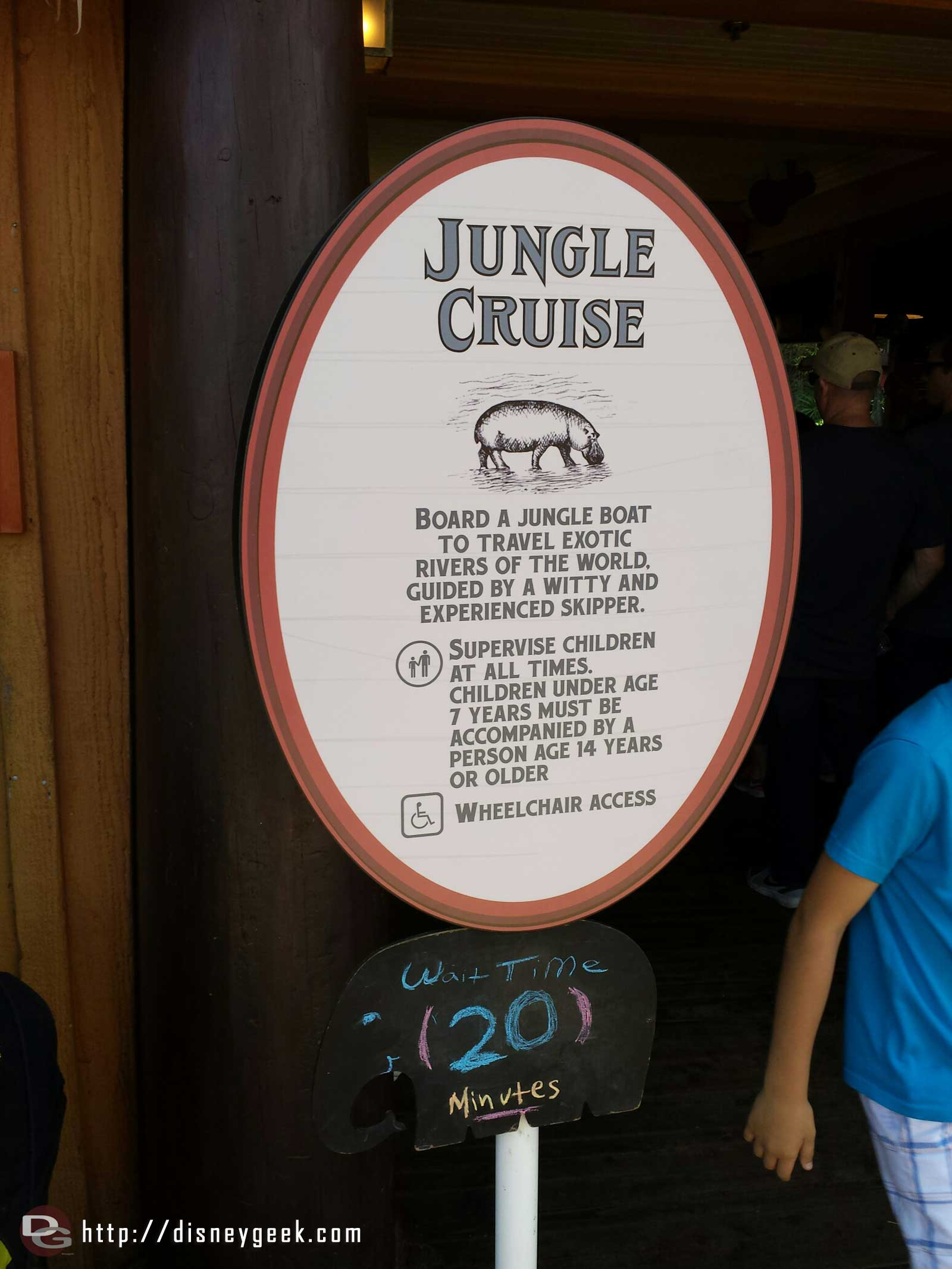 The Jungle Cruise has a temporary wait sign near the entrance (20 min as of 1:25pm)