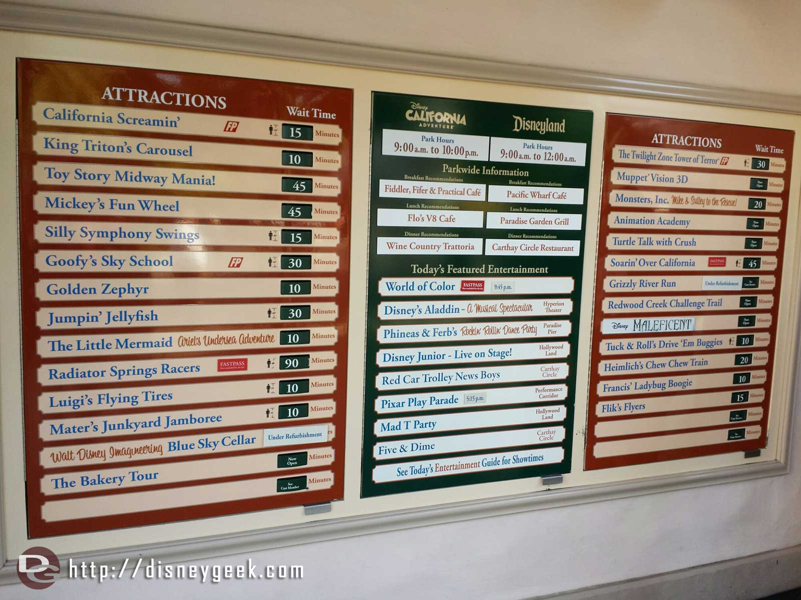 Disney California Adventure waits as of 4:25pm