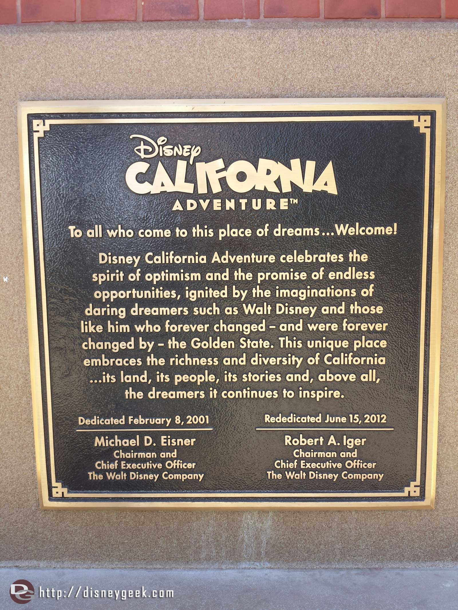 Two years ago this weekend is when the new DCA opened. Here is the Dedication Plaque