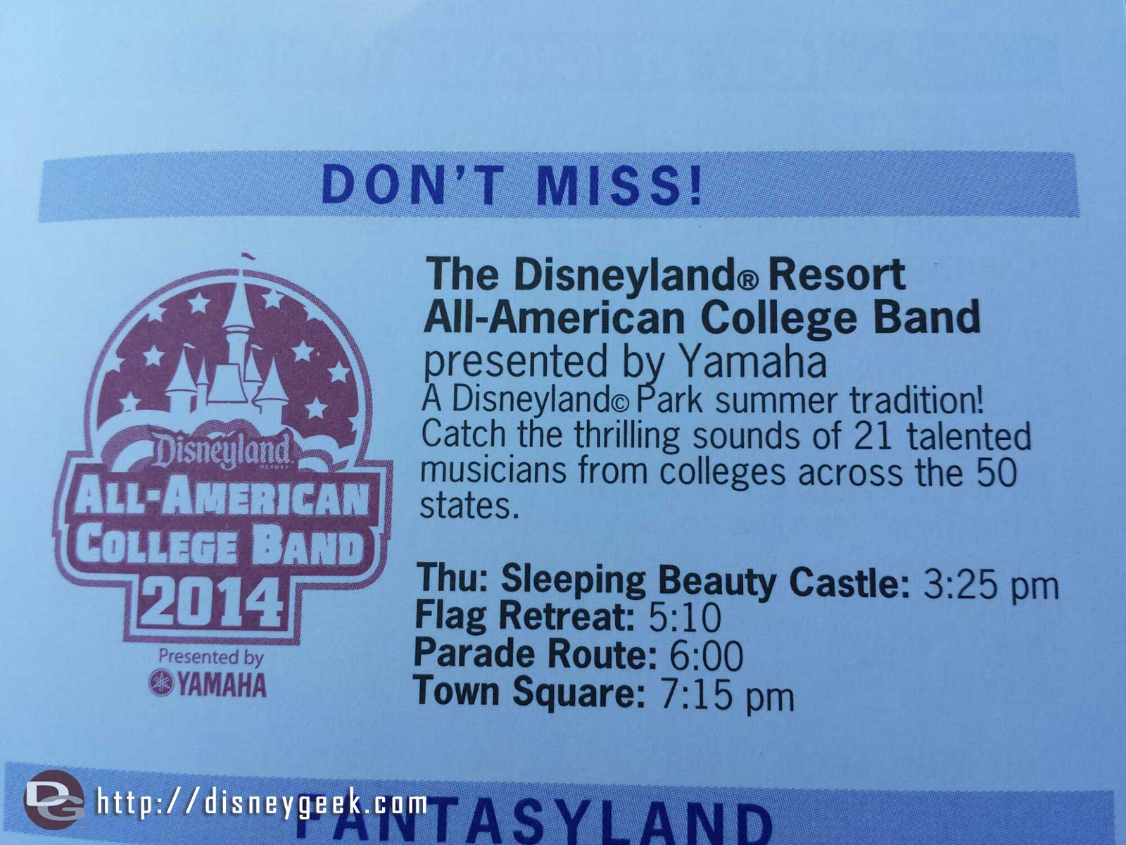 The Disneyland Resort All-American College Band returns Thursday.  Here is their schedule at Disneyland.