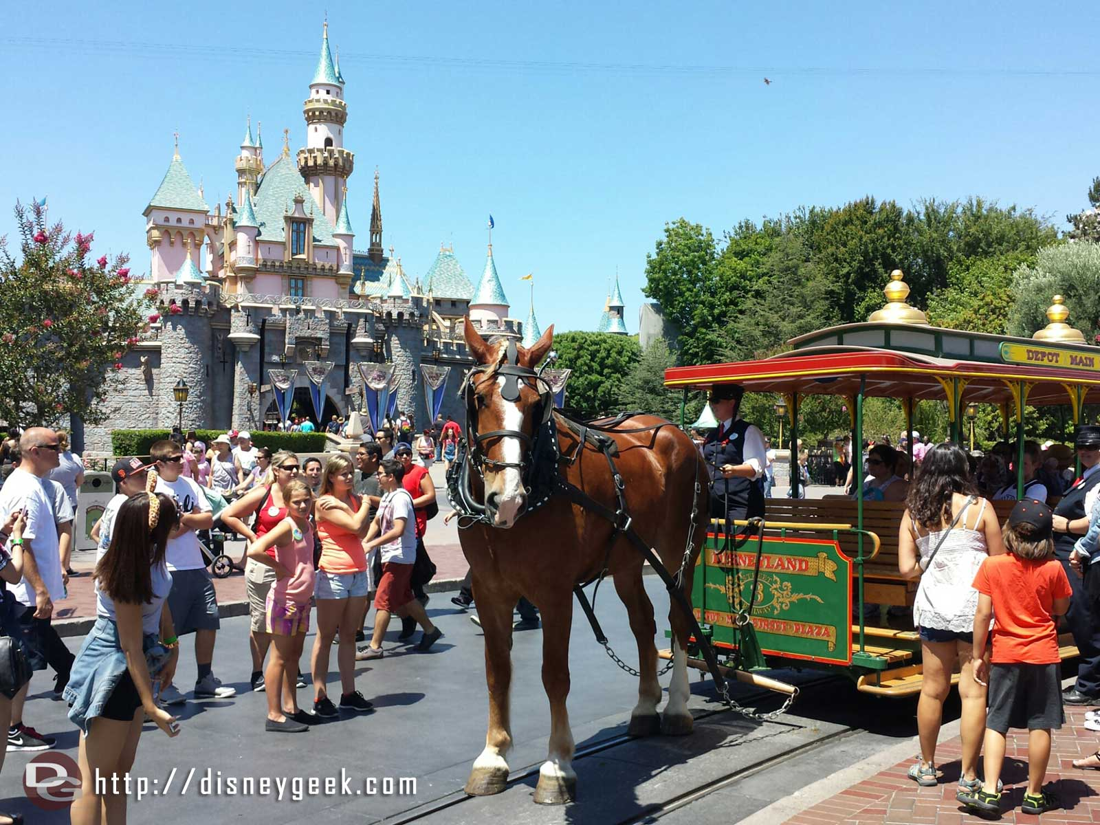 Main Street USA trolley being pulled by Sulley (the horse)