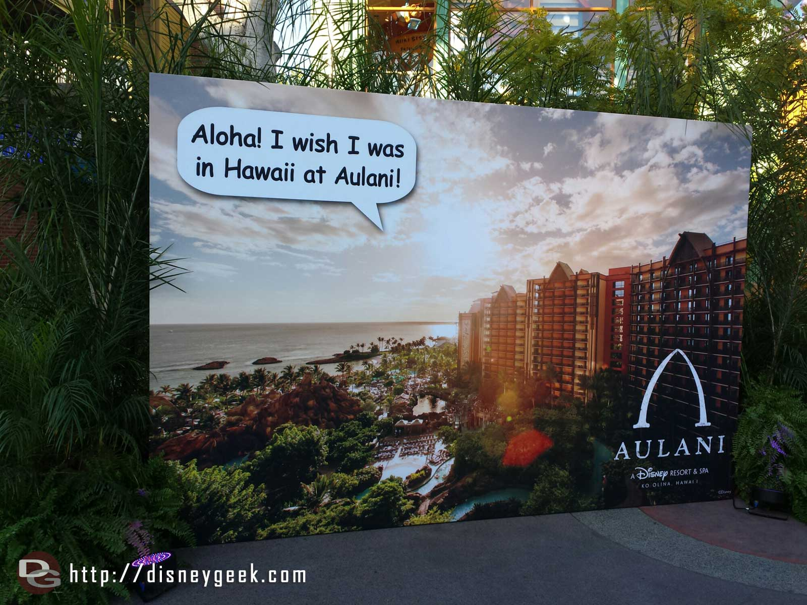 An #Aulani photo op is near House of Blues/Build-a-Bear this week for Hawaiian nights at Downtown Disney