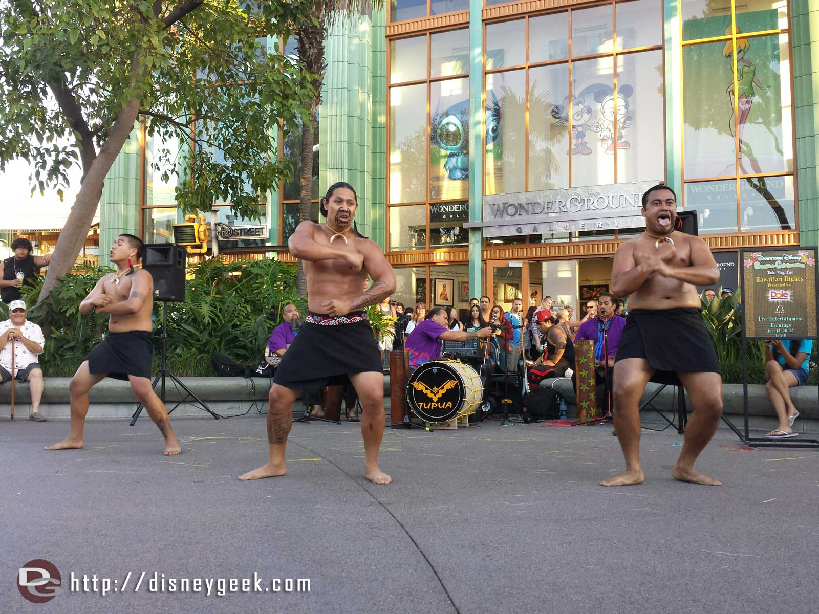 Tupua performing a New Zealand dance at Hawaiian nights at Downtown Disney