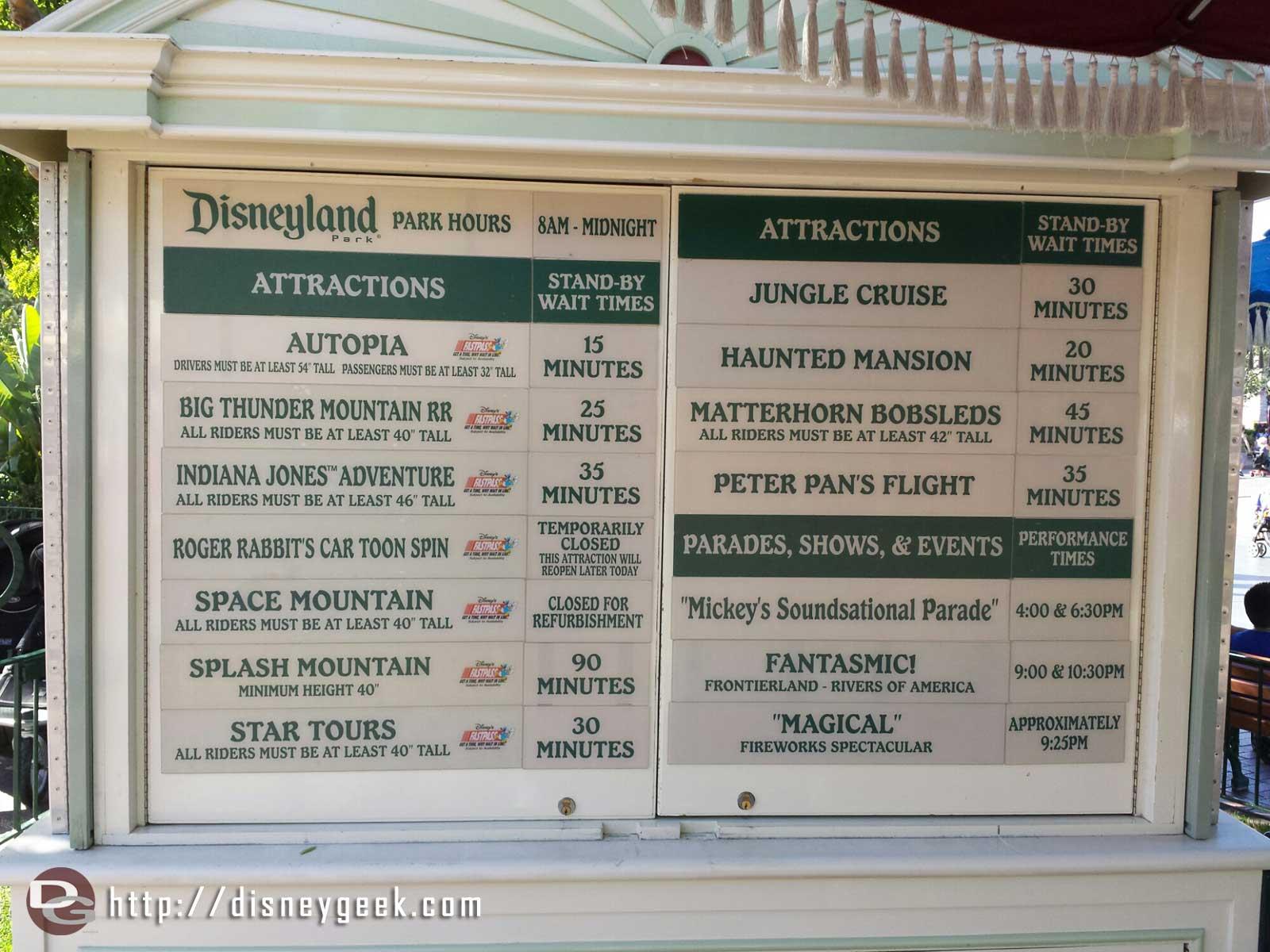 #Disneyland wait times at 5:00pm
