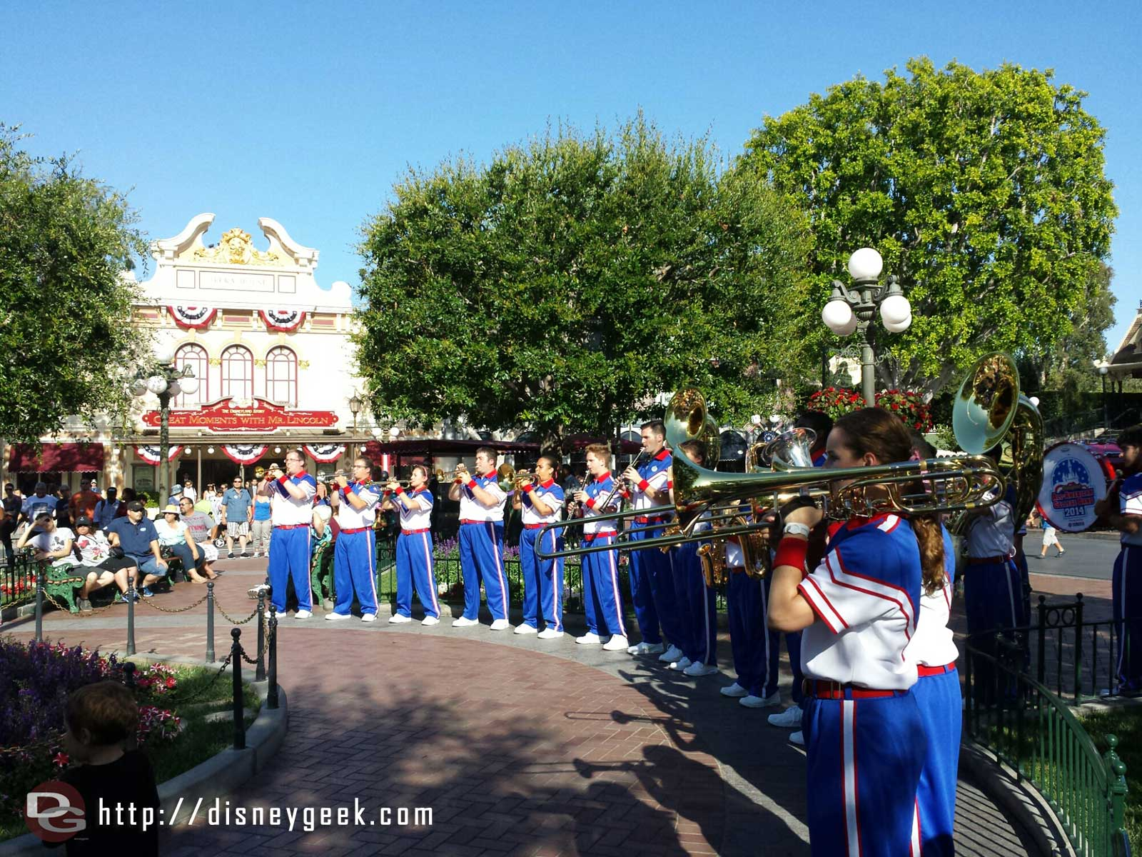 2014 #Disneyland All American College Band at nightly Flag Retreat in Townsquare