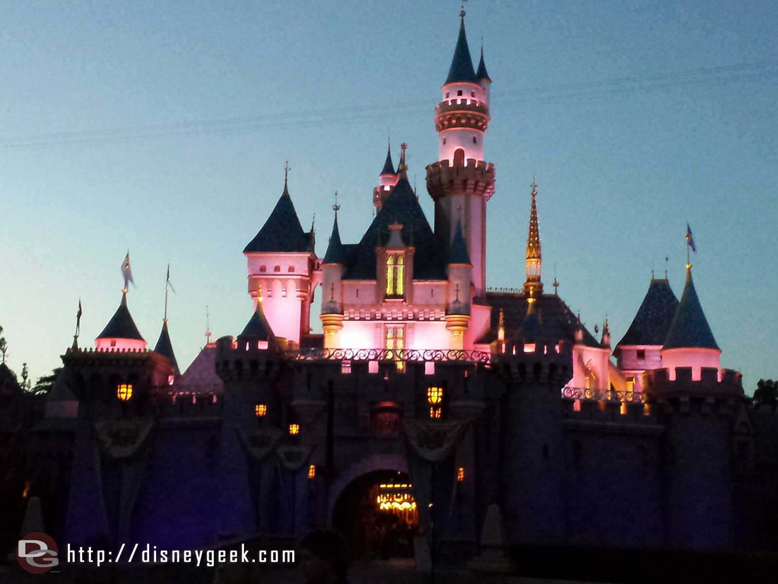 Sleeping Beauty Castle after sunset